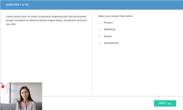 MCQ assessment screen