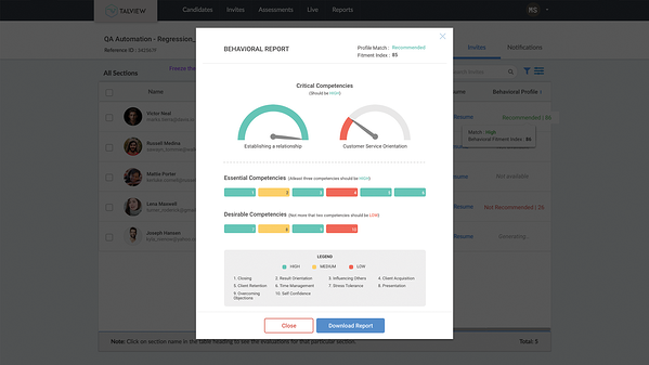 Talview Behavioural Insights - Competency mapping of candidates