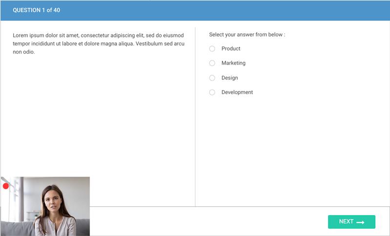 Proctored assessment screen